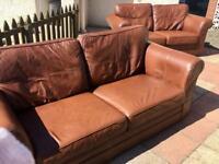 3 & 2 Seater tan/brown leather sofa