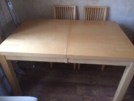 Table and chairs six chairs extended table for condition