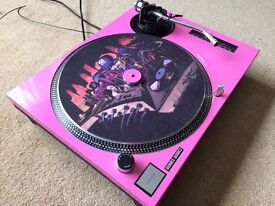 Technics SL-1210 MK2 Turntable With Custom Baby Pink Cover & 45