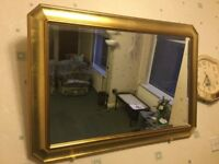 GOLD GUILT WALL / MANTLE BEVELLED EDGE LARGE MIRROR