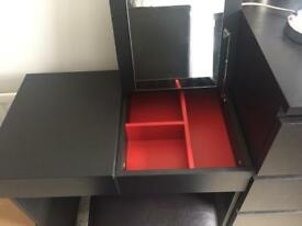Ikea Brimnes vanity desk and real leather chair