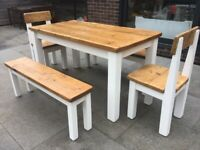 Reclaimed pine dining table, 2 benches and 2 chairs, originally from Chunky Monkey