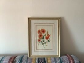 Original signed poppy water colour painting