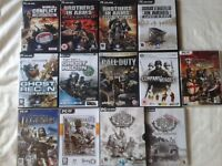 13 X PC GAMES. CALL OF DUTY, BROTHERS IN ARMS, GHOST RECON ECT