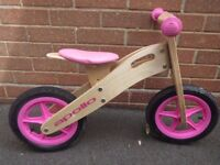 "(3098) 12"" APOLLO WOODEN BALANCE BIKE Girls Kids Childs Age: 3-5, Height: 90-110 cm; PINK"
