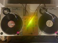 URGENT Pair of Technics SL-1200 MK2 Professional Direct Drive DJ Turntables+Mixer+Ortofons+Extras