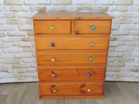6 Drawer Pine Chest with Unique handles (Delivery)