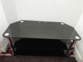 Modern Black Glass T.V. Unit (L) 105cm x (W) 45cm x (H)52cm