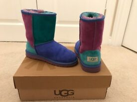 Pink, Green & Blue multicoloured Ugg boots bought in America hardly worn size 2 UK (35)