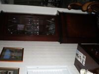 Mahogany corner unit with glass display cabinet