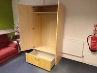 Two door wardrobe with large solid drawer 203cm x 100cm x 59cm