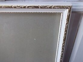 Large picture frame in white and gold