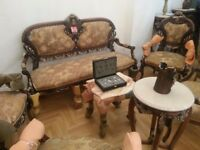 DELUXE FRENCH ANTIQUE LOUIS XV STYLE SOFA SETTEE SALON 3PC SUITE £1200
