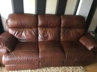Brown leather 3 & 2 piece electric recliner sofas
