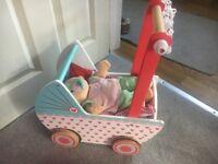 Wooden baby toy pram