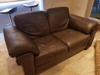 Natuzzi brown leather 3 seater sofa, 2 seater sofa and a chair