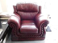 Two Matching Burgundy Leather Chairs in Good Condition