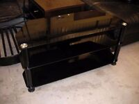 Black glass and metal TV stand 100cm x 40cm
