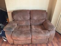Brown Fabric 2 Seater Sofa