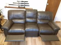 Reclining chair, genuine leather 3 seater £350