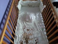 Cot bed with mattress and bedding set