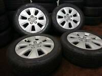 "Genuine OEM Audi A3 16"" alloy wheels + four matching near new tyres vw seat skoda"