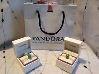 2x Genuine Pandora Murano Glass Charms green