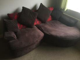 3 Seater Settee, Swivel Chair and Footstool