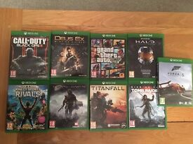 9 assorted XBOX ONE games, inc. GTA V, Rise of the Tomb Raider, Shadow of Mordor, Deus Ex, B Ops III