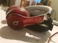 Beats red headphones with case