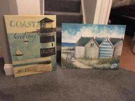 Beach style shabby chic canvas paintings