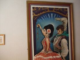 LARGE OIL PAINTING. SPANISH DANCERS