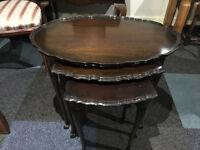 Attractive Antique Pie Crust Edge Mahogany Nest Of 3 Tables