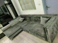 🔴more at less price🔵Florence sofa-plush velvet left/right hand corner sofa-in grey color