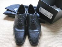 Hugo Boss Rare 'Milford' mens all Italian Black leather shoes size UK 9 Worn once 2 hours as new.