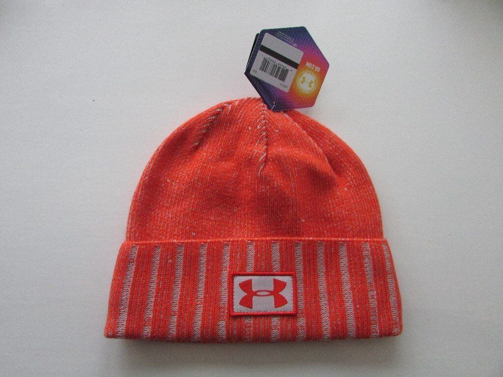 mens under armour sideline beanie hat orange/silver. brand new with tags.