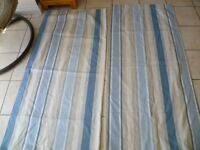 Laura Ashley Awning Striped ready made curtains, duck egg / blue / beige, 180cm drop, 160cm wide