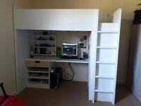 STUVA Loft Bed with 1 Drawer/2 Doors + Mattress and Shelf Unit- IKEA