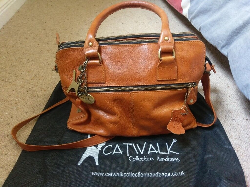 Catwalk Collection Tan Victoria Tote Leather Bag