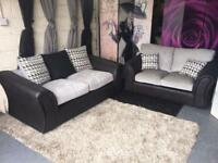 New Linear Fabric And Faux Leather 3 Seater and 2 Seater Compact Sofas In Black And Charcoal