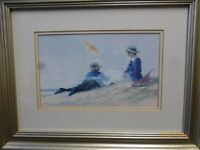two paintings by James Tytler, beach scenes