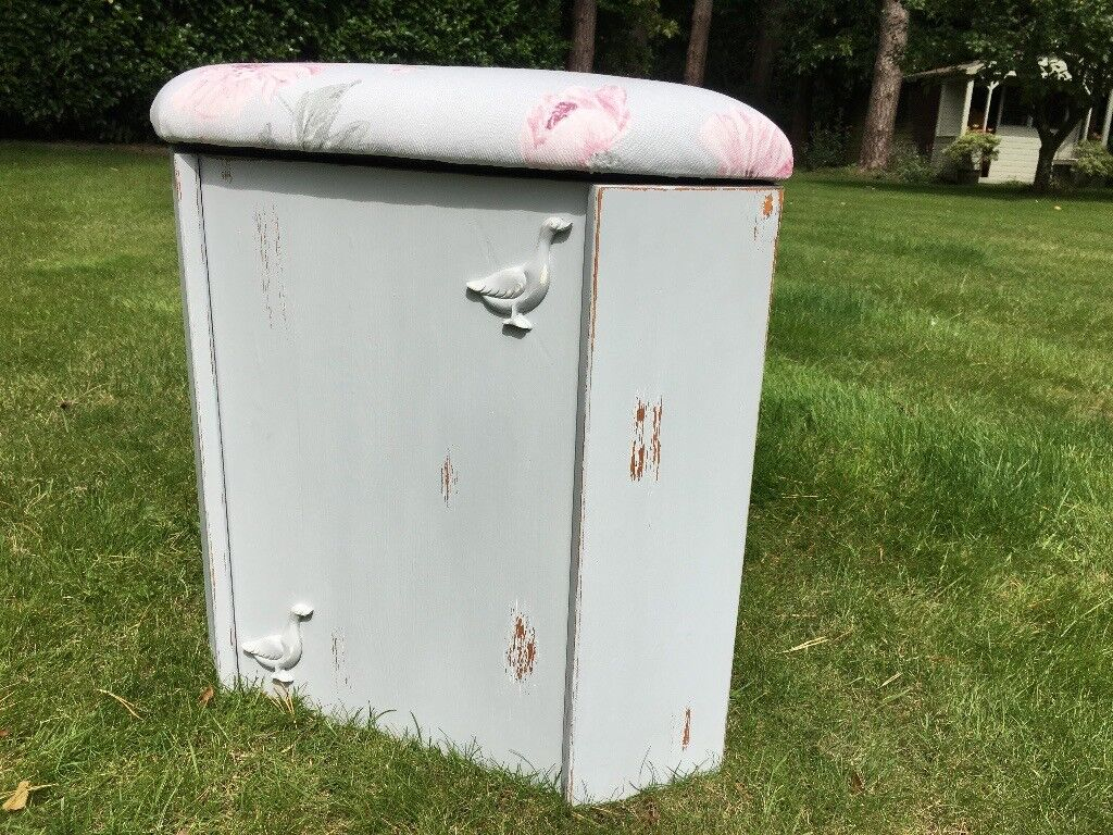 Hand painted linen box/ toy box with ducks & reupholstered lid