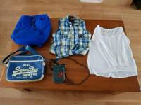 Hollister and Superdry top and bags