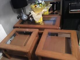 Set of 3 oak and glass tables