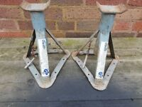2 MATCHING BS BRITISH STANDARD PADDY HOPKIRK CAR AXLE STANDS OLD TOOL G/C CLASSIC CAR GARAGE DIY
