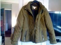 Woman's kaki padded bomber jacket . size 12