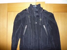 LEATHER BLACK COAT WITH HOOD SIZE 8