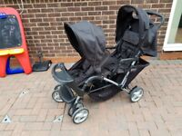 GRACO Double Baby Pram Twin Pushchair Stroller Buggy Foldable Two Rain Canopies