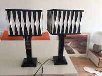Table lamps, pair of heavy black crystal glass + black & white shades, heavy, as new, with label on.
