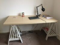IKEA desk for sale (£45) and black desk lamp (£10) together or separately